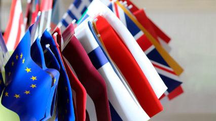 EU-Flaggen nebeneinander