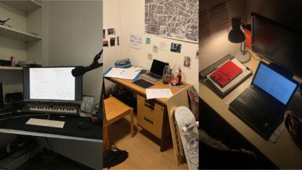 3 Bilder mit Schreibtischen