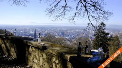 Bier- und Schnapsflaschen vor Panorama der Stadt Freiburg