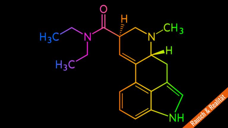 Chemische Formel von LSD in bunten Farben