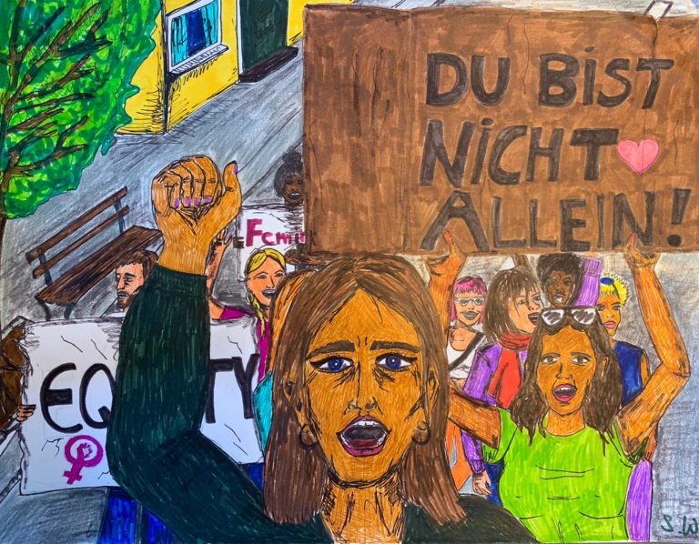 Frauen Faust ausgetreckt mit Plakat