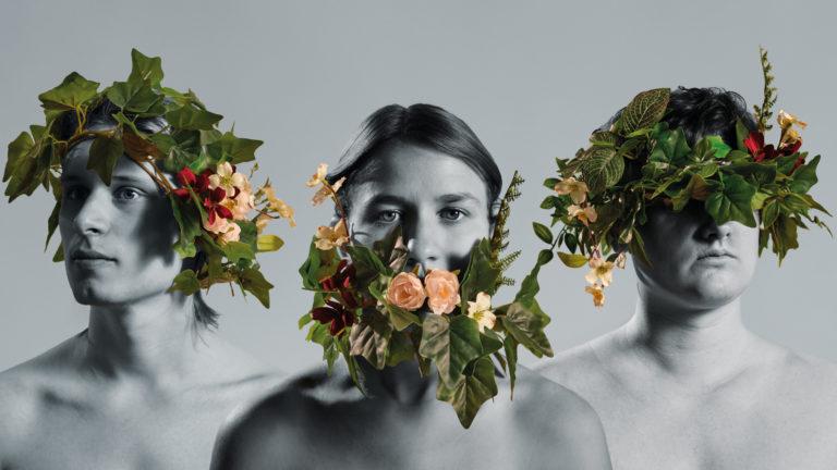 drei Köpfe mit Blumen