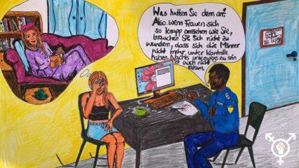 Frau bei der Polizei Anzeige